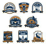 Hunting club icons. Outdoor adventure emblems royalty free illustration