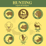 Hunting club label collecton. Grand safari logos and budges Royalty Free Stock Image