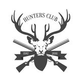 Hunting Club Logo Template. Deer Head and horns Silhouette Isolated On White Background. Vector illustration Stock Photography