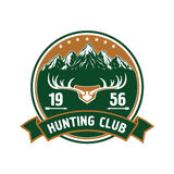 Hunting club round badge with deer antlers stock illustration