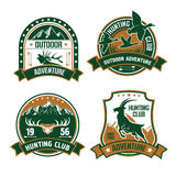 Hunting club shields icons set stock illustration