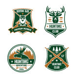 Hunting club shields set. Hunt sports emblems. Hunting club shields set. Vector hunt sports emblems. Label elements with animals, birds, rifles, arrows, forest royalty free illustration