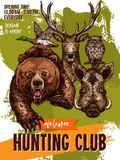 Vector sketch poster of hunting club wild animals. Hunting club sketch poster for open season. Vector design template of wild animals grizzly bear or aper and Stock Photos