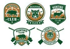 Hunting club sporting badge set design Stock Photo