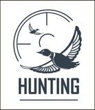 Hunting club vector icon hunt adventure duck target wild animal open season. Hunting club or hunt adventure logo template. Vector isolated icon of flying wild royalty free illustration