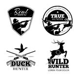Hunting club vector labels and emblems set stock illustration