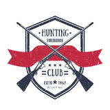 Hunting club vintage logo with two old rifles Royalty Free Stock Images