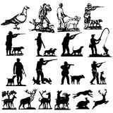 Hunting collection silhouettes Royalty Free Stock Image