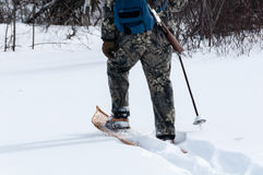 Hunting in deep snow with snowshoes Stock Image