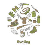 Hunting doodle set. Sketches.  Vintage illustration Stock Photo