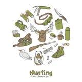 Hunting doodle set. Sketches.  Vintage illustration Stock Photo