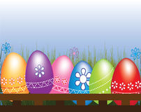Hunting Easter eggs. Colorful backround vector illustration