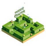 Hunting for Easter eggs. The green labyrinth in which the Easter bunny hid. Inscription Happy Easter and flying butterflies. 3D is stock illustration