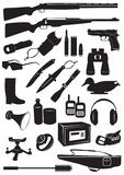 Hunting equipment. The figure shows the silhouettes of hunting equipment Stock Photo