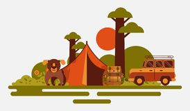 Hunting equipment banner vector illustration. Hunter accessories such as camping tent, rucksack with tools, dog and jeep. Hunting equipment banner. Hunter stock illustration