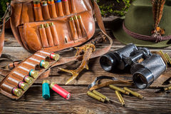 Hunting equipment in a forester lodge Royalty Free Stock Images