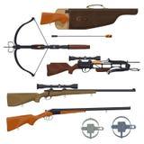 Hunting equipment and gun, vector stock illustration