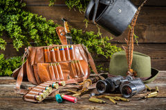Hunting equipment in a house forester Royalty Free Stock Image