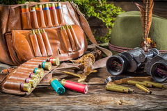 Hunting equipment in a house forester Stock Image