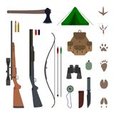 Hunting equipment kit flat vector. Illustration isolated on background. Set of hunting elements icons and concepts - traces of animals, rifle, shotgun, backpack Stock Illustration