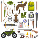 Hunting equipment kit  rifle,  knife,  hat,  suit,  shotgun,  boots,  decoy,  patronage,  matches, a  trap. Vector Stock Images