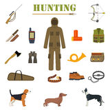 Hunting equipment kit with rifle, knife, suit, shotgun, boots, patronage etc. Hunting Dogs. Royalty Free Stock Photos