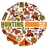Hunting equipment round patterns vector illustration. Hunter accessories such as jeep car, rifle gun and carbine with. Arbalest crossbow, trap for wild animals stock illustration