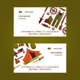 Hunting equipment set of business cards vector illustration. Hunter accessories such as camping tent or rifle gun and. Hunting equipment set of business cards stock illustration