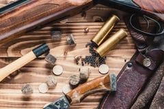 Hunting equipment. Set of  hunting equipment on desk Royalty Free Stock Photo