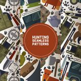 Hunting equipment set of seamless patterns vector illustration. Hunter accessories such as jeep car, rifle gun and. Carbine with arbalest crossbow, trap for royalty free illustration