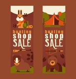 Hunting equipment shop sale set of business cards vector illustration. Hunter accessories such as camping tent, rifle. Gun, arbalest crossbow, wild animals such vector illustration