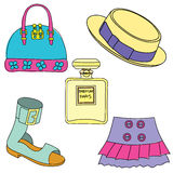 Hunting equipment and trophies icons set. Vector illustration Stock Photography