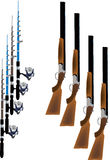 Hunting and fishing. Number of hunting rifles and fishing rods stock illustration