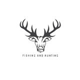 Hunting and fishing emblem with deer. And fish Stock Photos