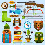 Hunting and Fishing Icons Set Stock Images