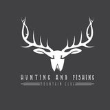 Hunting and fishing mountain emblem with duck deer and fish Stock Images