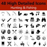 Hunting and Fishing Smooth Icons Stock Image