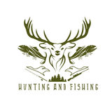 Hunting and fishing vintage emblem  design template Royalty Free Stock Photos
