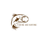Hunting and fishing vintage emblem vector design Royalty Free Stock Photos