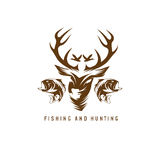 Hunting and fishing vintage emblem vector design Stock Image