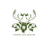 Hunting and fishing vintage emblem vector design Royalty Free Stock Image