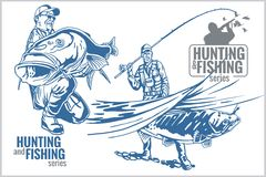 Hunting and fishing vintage emblem Stock Images