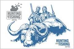 Hunting and fishing vintage emblem Royalty Free Stock Photography