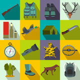 Hunting flat icons. Set for web and mobile devices Royalty Free Stock Images
