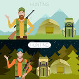 Hunting in the forest banner1 Stock Image