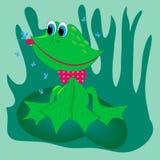 Hunting frog on leaf illustration Stock Photo