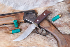 Hunting gun and  knife Stock Photos