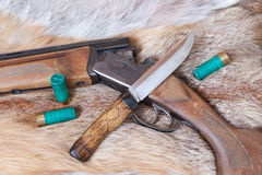 Hunting gun and  knife Royalty Free Stock Photography