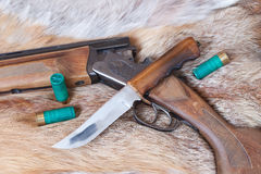 Hunting gun and  knife Stock Photo
