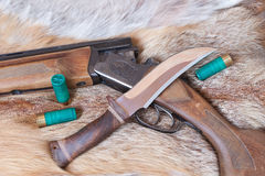 Hunting gun and  knife Stock Image